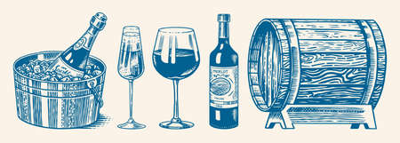 Wine set. Alcoholic drink in the hand. Sparkling champagne, bottle and glass Cheers, ice bucket, wooden oak barrel. Drawn engraved sketch for bar, restaurant menu.