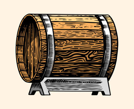 Wooden oak barrel or cask with alcohol. Vessel with wine, brandy or whiskey in vintage style. Hand Drawn engraved sketch for bar, restaurant menu, banner or poster