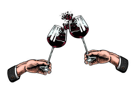 Cheers toast and clink glasses of wine in hand. Celebration concept. Red grape alcoholic drink. Vintage badge. Splashing alcohol Template Label. Semi sweet dry drink. Drawn engraved. Vettoriali