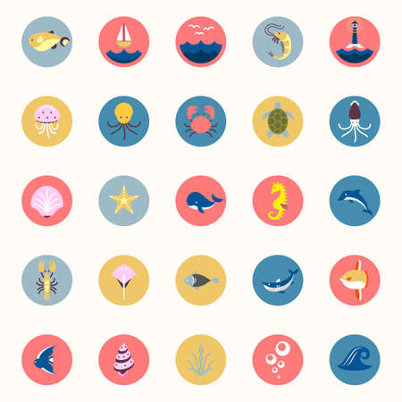 Marine icons set. Sea and ocean emblems. Flat cartoon web buttons for apps and games or arcades. Elements in retro style. Creatures and fish sticker collection