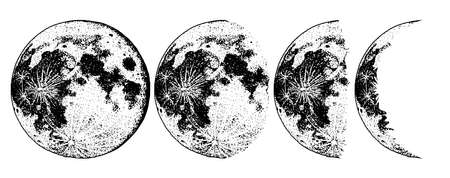 Moon phases planets in solar system. Astrology or astronomical galaxy space. Orbit or circle. Engraved hand drawn in old sketch, vintage style for label. Vektorové ilustrace