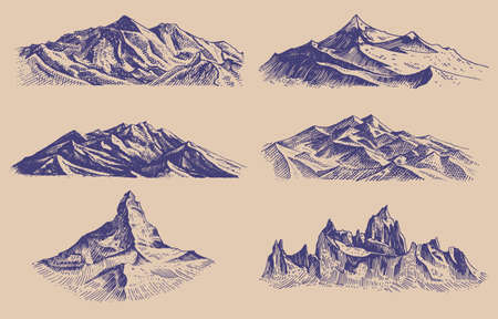 Mountains peaks and climbing hill. Hand drawn Vintage old sketch. Set of elements in engraved style. Alpine high elevations for hiking posters, tattoos or t-shirts. Ilustração