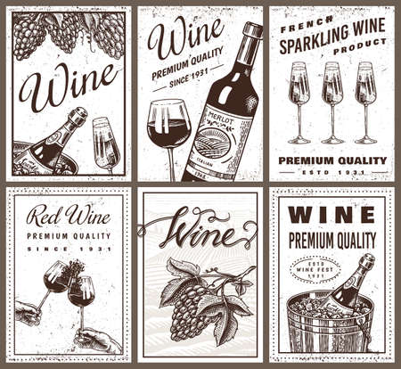 Wine posters or vineyard banners. Sparkling champagne background, Cheers toast and Grape. Hand Drawn engraved vintage sketch for bar, alcohol label, restaurant menu.