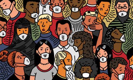 Coronavirus pandemie of COVID-19. Menigte van mensen met antivirale medische maskers. Mensen infecteren bacteriën. Epidemie. Risico op verspreiding van ziekten. Quarantaine. Ernstig acuut respiratoir syndroom