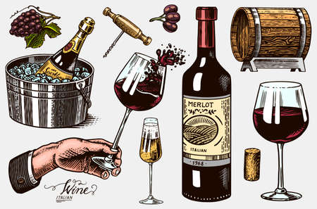 Wine set. Alcoholic drink in the hand. Sparkling champagne, bottle and glass Cheers, ice bucket, wooden barrel. Grapes Corkscrew Olives Cork. Drawn engraved sketch for bar, restaurant menu. Stock Illustratie