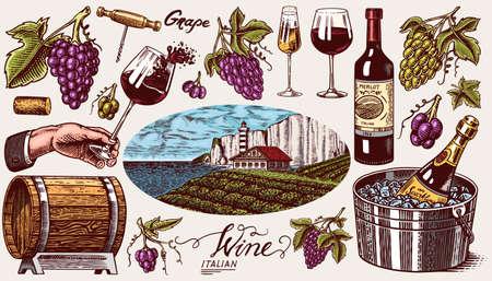 Vineyard and Wine Set. Ice bucket, Corkscrew Cork Grapes, wooden barrel. Sparkling champagne, bottle and glass Cheers. Vine labels. Hand drawn Engraved vintage sketch for poster, restaurant menu.