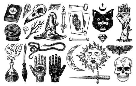 Mystical magic boho elements. Witchcraft astrological set. Esoteric alchemy occult sketch for tattoo. Palmistry and skull, the hand of a dead man. Drawn Engraved Game Cards and Black Cat.