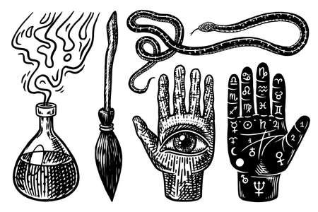 Mystical magic boho elements. Witchcraft astrological set. Esoteric alchemy occult sketch for tattoo or T-shirts. Palmistry Snake Broom Elixir Potion Divination. Drawn Engraved vector illustration