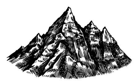Alps Mountains. Chamonix-Mont-Blanc peaks. Vintage rock, old highlands range. Hand drawn vector outdoor sketch in engraved style. Hiking card, climbing banner, tattoo or label Vetores