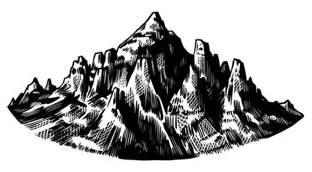 Alps Mountains. Chamonix-Mont-Blanc peaks. Vintage rock, old highlands range. Hand drawn vector outdoor sketch in engraved style. Hiking card, climbing banner, tattoo or label