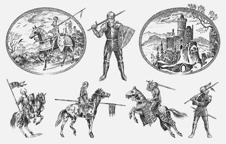 Medieval armed knight in armor and on a horse. Historical ancient military characters set. Cavalier with a spear and a flag. Ancient fighters. Vintage vector sketch. Engraved hand drawn illustration.