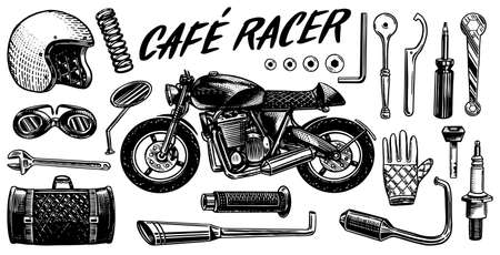 Motorcycle repair. Set of tools for the cafe racer. Bike Gloves Helmet Instruments for motor bicycle. Mending and renovation of vehicles. Hand drawn engraved monochrome sketch for labels or posters.