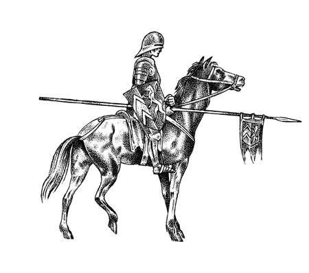 Cavaliere armato medievale a cavallo. Carattere militare antico storico. Principe con lancia e bandiera. Antico combattente. Abbozzo di vettore dell'annata. Illustrazione disegnata a mano incisa.
