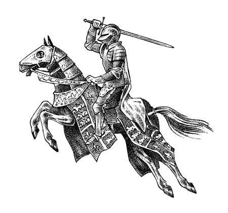 Cavaliere armato medievale a cavallo. Carattere militare antico storico. Principe con spada e scudo. Antico combattente. Abbozzo di vettore dell'annata. Illustrazione disegnata a mano incisa.