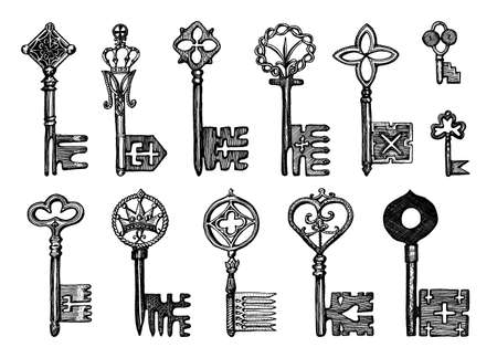 Victorian keys. Medieval Gothic locks set. The device for opening the door. Antique elements to blocking. System of security. Vintage vector sketch. Engraved hand drawn illustration. Illustration