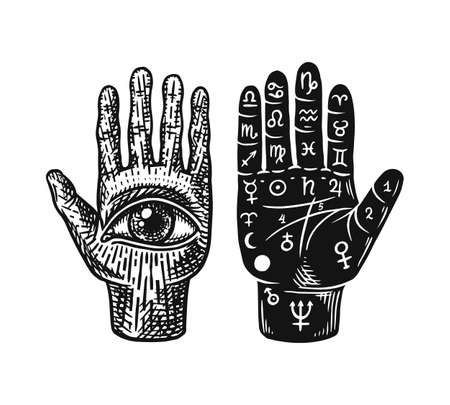Mystical magic palmistry. Esoteric or alchemy occult sketch for tattoo. Fate in the palm of your hand. Hand Drawn Engraved illustration. Illustration