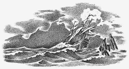 Sinking ship at sea. Ocean storm, strong waves. Vintage engraved monochrome sketch. Historic seascape. Vector illustration for banner or poster. Boat trip or vessel voyage.