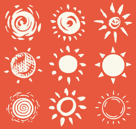 Sun set. Brush strokes. Rays collection on red background. Hand drawn black icons. Engraved Monochrome Vintage Sketch. Ink elements. Vector illustration.