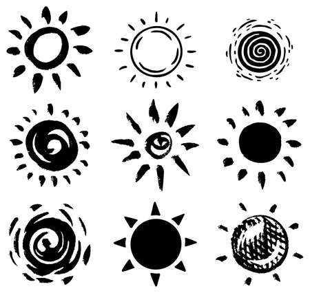 Sun set. Brush strokes. Rays collection on white background. Hand drawn black icons. Engraved Monochrome Vintage Sketch. Ink elements. Vector illustration.