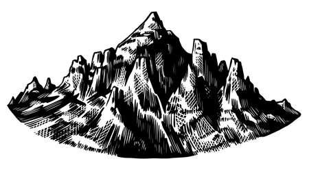 Alps Mountains. Chamonix-Mont-Blanc peaks. Vintage rock, old highlands range. Hand drawn vector outdoor sketch in engraved style. Hiking card, climbing banner, tattoo or label. Ilustração