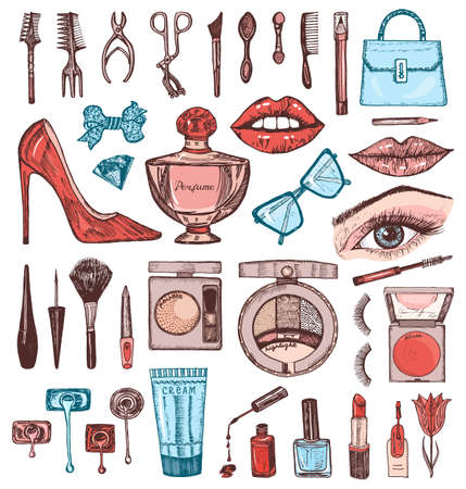 Cosmetics for Makeup Set. Doodle A collection of female products. Decorative Elements for a beauty salon. Hand drawn vintage engraved sketch. Outline stickers. Eye Lips Blush and maquillage Toiletry Ilustração Vetorial