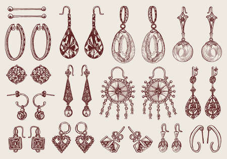 Women's jewelry earrings. Vintage handmade decorations. Retro products set. Antique Vintage gold fancy articles or bijouterie. Engraved monochrome elements. Hand drawn sketch. Vector illustration