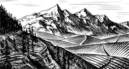 Mountain landscape background. Alpine peaks and forest. Vintage Mount. Travel concept. Hand drawn engraved sketch for outdoor posters, climbing banners