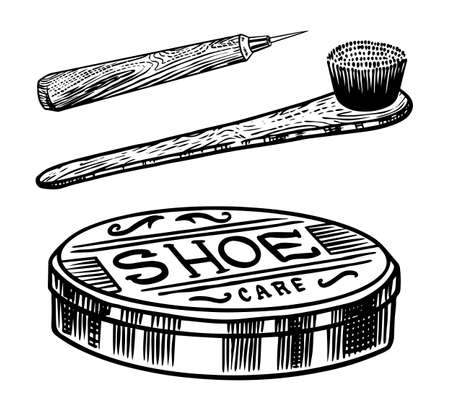 Shoe cream and brush for cleaning the soles. Vintage label. Hand drawn engraved sketch for T-shirt