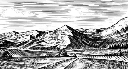 Mountain landscape background. Alpine peaks. Vintage Mount and valley. Travel concept. Hand drawn engraved sketch for outdoor posters, climbing banners Vektorgrafik