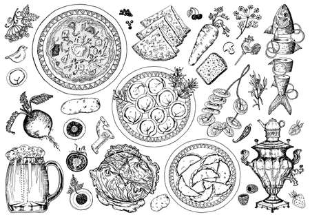 Traditional Russian food set. Dumplings and borscht in a plate and seasoning. Moscow cuisine. Samovar and pancakes, sliced fish. Hand drawn sketch. Top view. Engraved monochrome vector illustration.