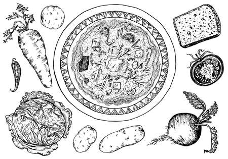 Traditional Russian food. Borscht in a plate. Ingredients for making soup. Moscow cuisine. Beets, cabbage, carrots and spices. Hand drawn sketch. Top view. Engraved monochrome vector illustration.