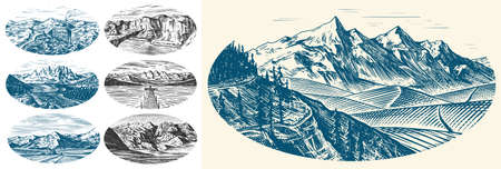 Mountain landscape backgrounds set. Alpine peaks and Traveler with a tent. Vintage Mount. Travel concept. Hand drawn engraved sketch for outdoor posters, climbing banners, logo or badge. Ilustração