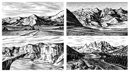 Mountain landscape backgrounds set. Alpine peaks and forest. Vintage Mount. Travel concept. Hand drawn engraved sketch for outdoor posters, climbing banners, logo or badge. Ilustração