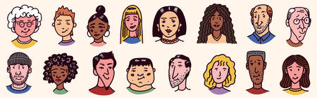 Diverse faces of people set. Human Avatars Collection. Old and young age. Happy emotions. Portrait with a positive facial expression. Men and women, grandparents and girls. Hand drawn doodle sketch. Ilustração