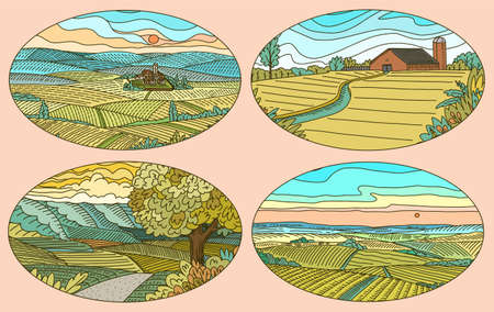 Rural landscapes stickers set. Farm field and cabin. Agriculture and Vineyard. Green hills, meadows and mountains background for banner or web. Vector illustration. Hand draw engrave vintage sketch.