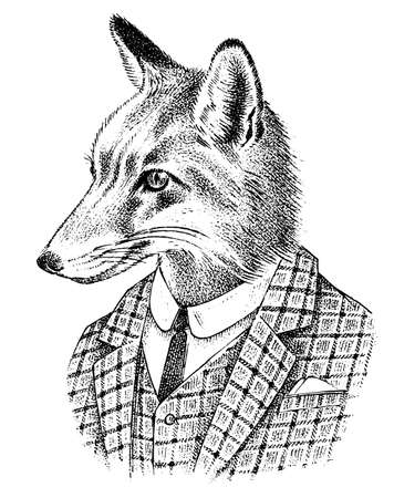 Fox dressed up in Suit. Aristocrat or old gentleman. Fashion Animal character in office style. Hand drawn Anthropomorphism sketch. Vector engraved illustration for label, logo and T-shirts or tattoo.