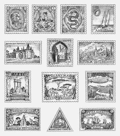 Vintage Postage stamps set. Ancient landscapes, dragon and sailing ship. Retro old Sketch. Monochrome Postcard. Hand drawn engraved retro mark, frames collection for print banner, poster and logo.