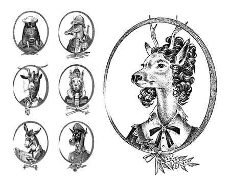 Animal characters set. Deer lady Walrus Crocodile Smoking Goat Dog Donkey Alpaca Llama skier. Hand drawn portrait. Engraved monochrome sketch for card, label or tattoo. Hipster Anthropomorphism.