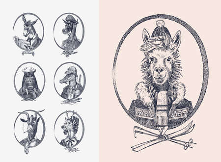 Animal characters set. Llama skier Deer lady Walrus Crocodile Smoking Goat Dog Donkey Alpaca. Hand drawn portrait. Engraved monochrome sketch for card, label or tattoo. Hipster Anthropomorphism. Imagens
