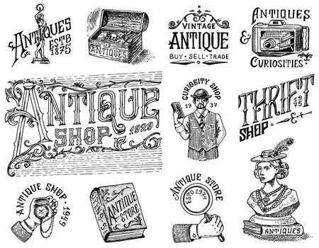 Antique shop labels or badges set. Collection of vintage victorian ancient for t-shirts, typography or signboards, banners. Frame and Sculpture. Old fashion. Hand drawn engraved monochrome sketch