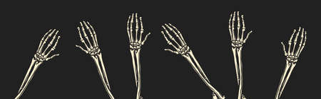 Bone hands on black background. Human arms. Skeletons climb up from the graves concept. Drawn engraved monochrome vintage sketch. Vector illustration for t-shirt, poster or banners.