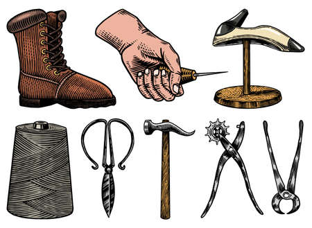 Cobbler set. Professional equipments for Shoe repair. Shoemaker or bootmaker. Cream Hammer Awl Brush Thread Glue Shoe. Hand drawn engraved old sketch for label or poster.