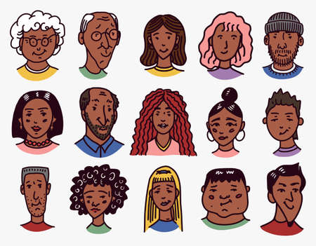 Diverse faces of African and Latin American people. Character set. Human Avatars Collection. Multi-ethnic Happy emotions. Men and women, grandparents and girls. Hand drawn sketch for app icons