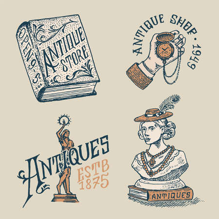 Antique shop labels or badges. Vintage victorian ancient for t-shirts and typography. Clock in hand, woman sculpture, book and lettering. Old fashion. Drawn engraved monochrome sketch.