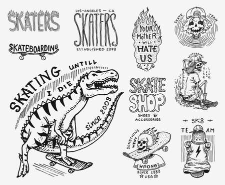 Skateboard shop badges set. Dinosaur and skeletons ride on the boards concept. Fiery head and skull. Vintage retro labels for t-shirts and typography. Hand Drawn engraved sketch. Çizim