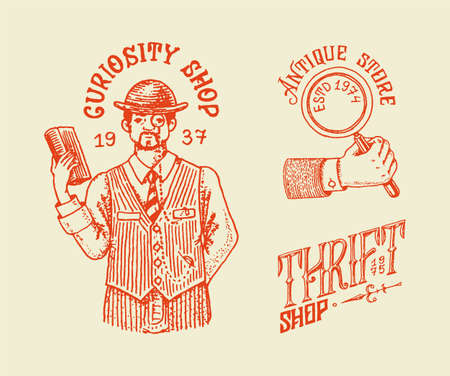 Antique shop labels or badges. Vintage victorian ancient for t-shirts and typography. Magnifier and gentleman man. Old fashion. Hand drawn engraved monochrome sketch.