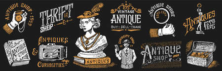 Antique shop labels or badges set. Collection of vintage victorian ancient for t-shirts, typography or signboards, banners. Frame and Sculpture. Old fashion. Hand drawn engraved monochrome sketch Vettoriali