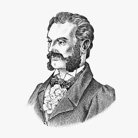 Victorian gentlemen. Elegant Antique man. Ancient Retro fashion clothing. Vintage engraving style. Hand drawn old monochrome sketch. Vector illustration.