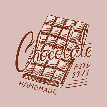 Chocolate bar. Vintage badge for t-shirts, typography, shop or signboards. Hand Drawn engraved sketch. Vector illustration.