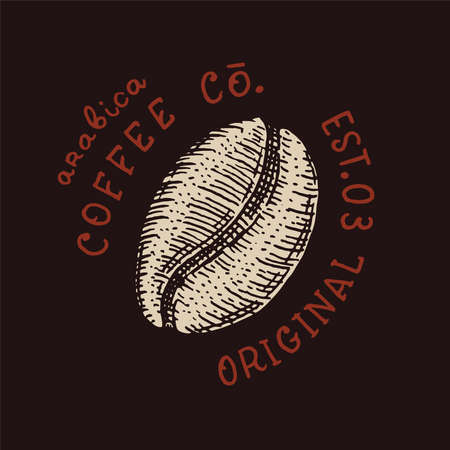 Cacao beans or grain. Coffee shop logo and emblem. Vintage retro badge. Templates for t-shirts, typography or signboards. Hand Drawn engraved sketch.